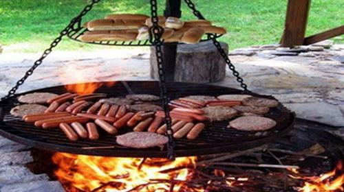 Barbeque at bonfire