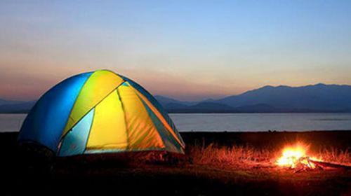 Tent and bonfire